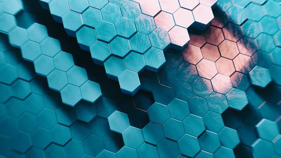 Hexagon「Abstract Technical 3D hexagonal background pattern」:スマホ壁紙(17)