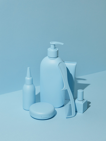 Girly「Cosmetic products in monochrome blue color」:スマホ壁紙(9)