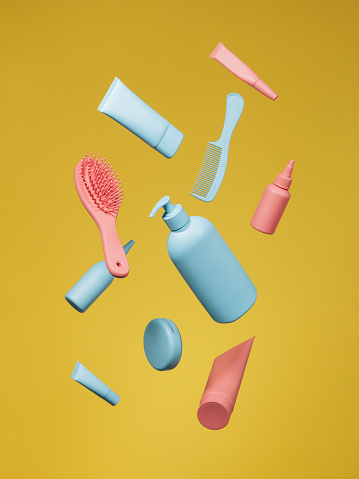 Girly「Cosmetic products in blue and pink color on yellow background」:スマホ壁紙(6)