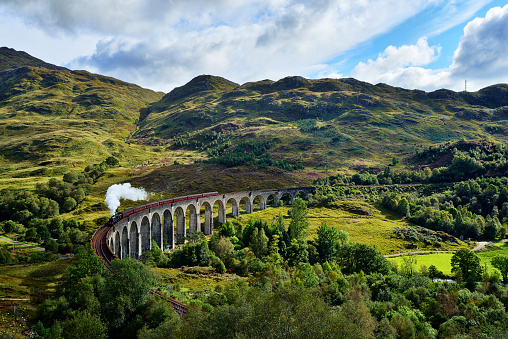 Scottish Highlands「UK, Scotland, Highlands, Glenfinnan viaduct with a steam train passing over it」:スマホ壁紙(1)