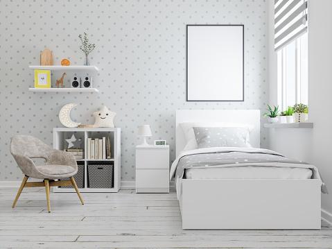 Art and Craft Product「Mock up frame in teenager bedroom interior」:スマホ壁紙(9)