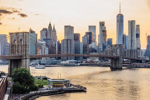 Liberty Island「New York skyline at sunset」:スマホ壁紙(13)